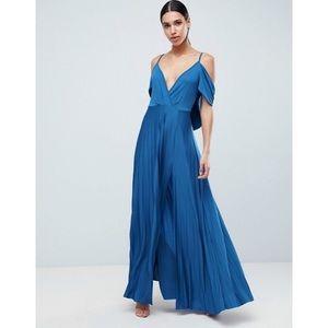 ASOS Blue Cold Shoulder Pleated Maxi Dress